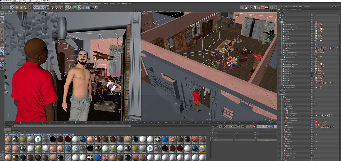 3d design animation  c4d dogs j balvin Maya motion capture motion design music video vfx
