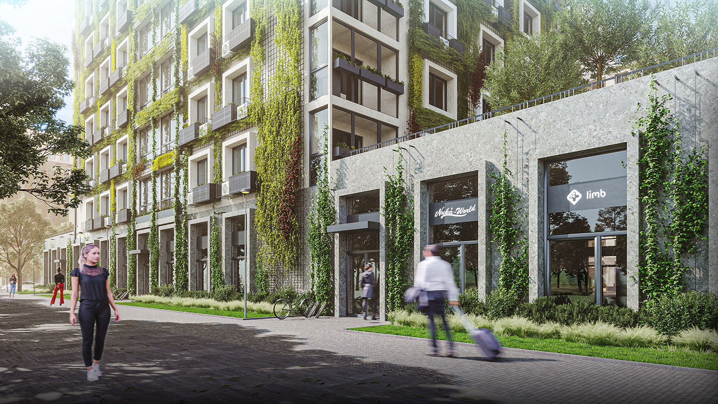 city exterior greenery house residential complex vine