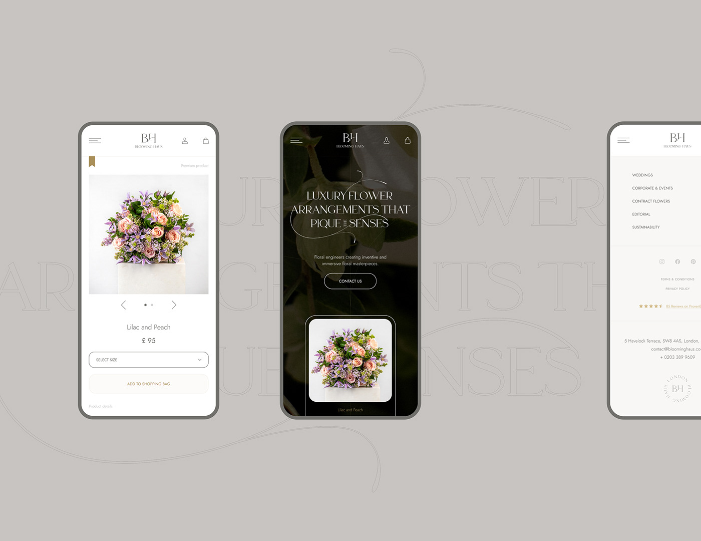 branding  Ecommerce elegant florist graphic design  luxury shop typography   Web Design  Website