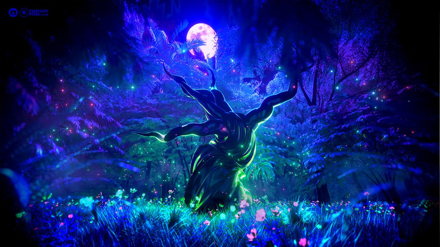 3D abstract avatar forest glow Nature neon pandora desktopography