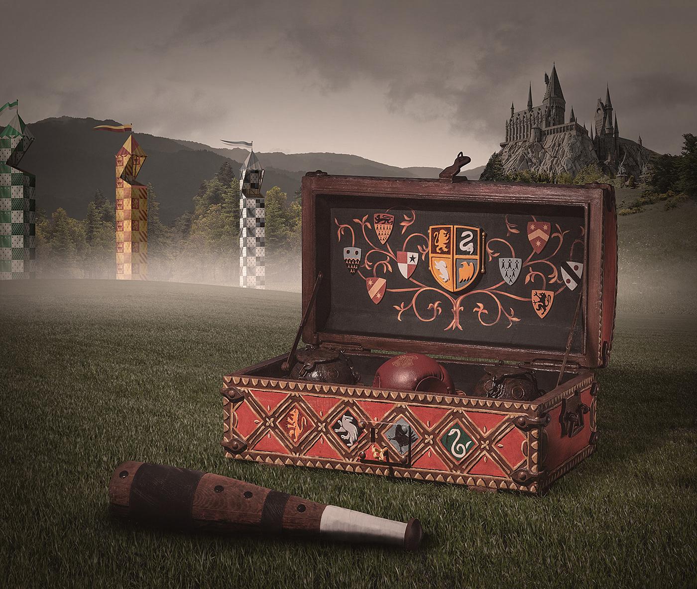 handmade harrypotter Hogwarts quidditch bludger golden snitch quaffle art fantasy retouch