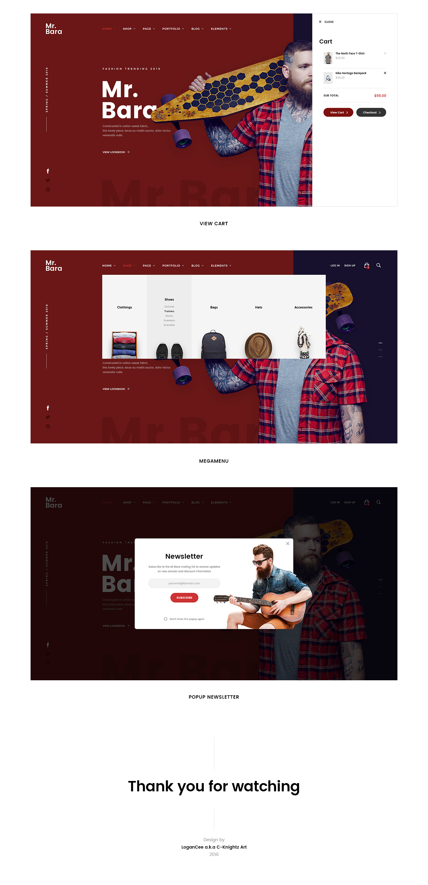 Web Ecommerce site Clothing store shop mobile UI design
