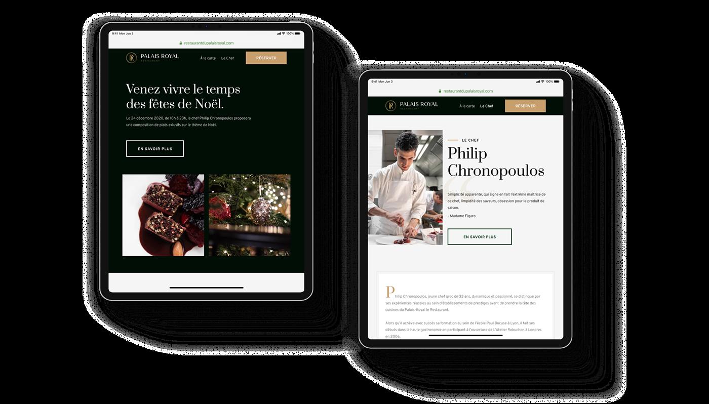 iPad Pro mockup for Restaurant du Palais Royal.