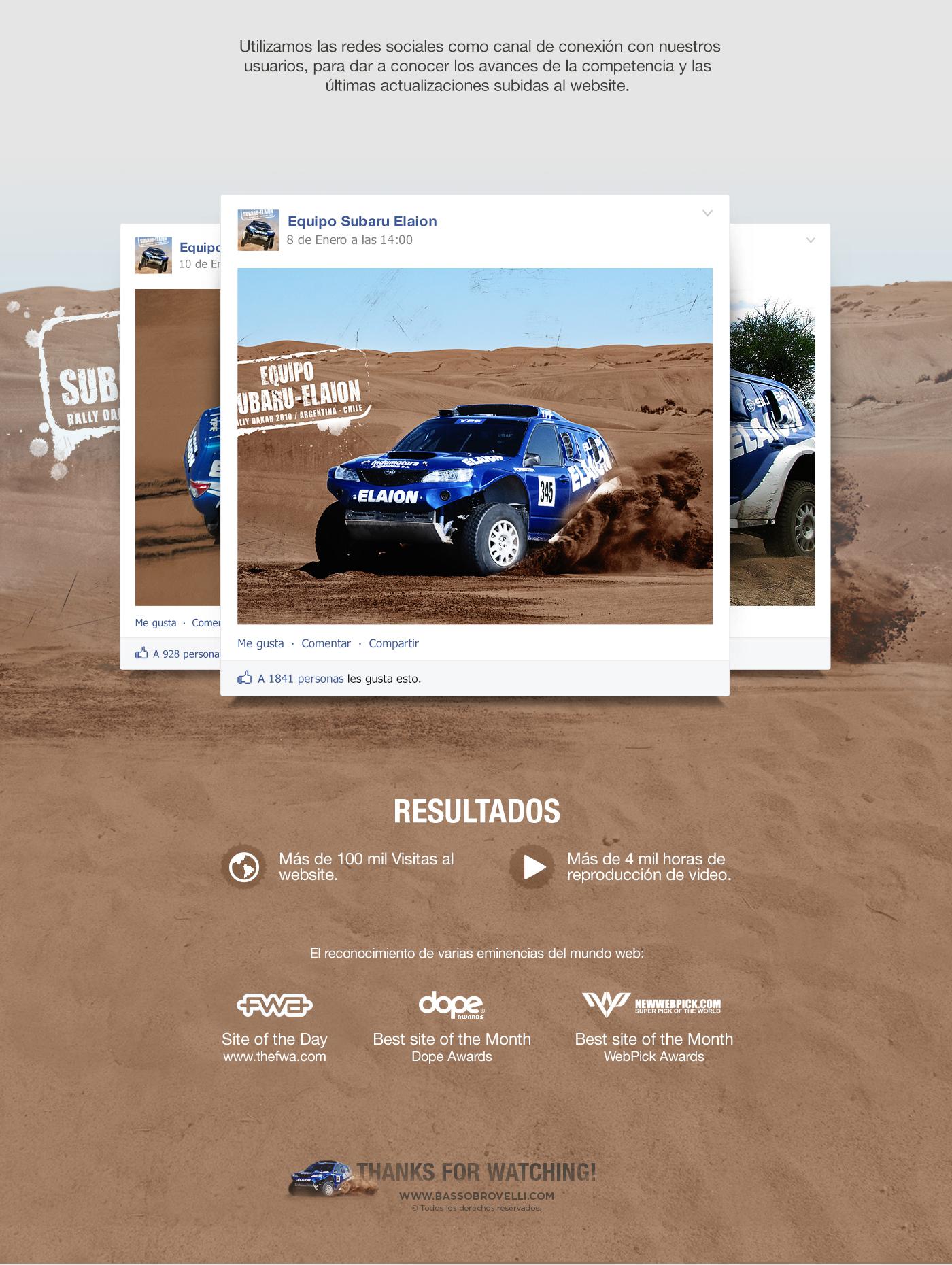 web site Subaru - Elaion Web dakar rally video race YPF FWA social media
