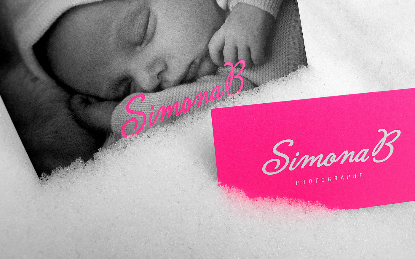 logo Business Cards pink photographer graphic identity fluorescent baby family composite card