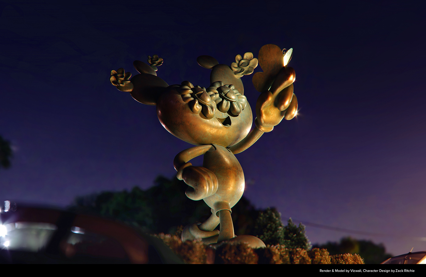 A night view close up of a 5 meter Bronze sculpture of a prickly pear character called Beppe.