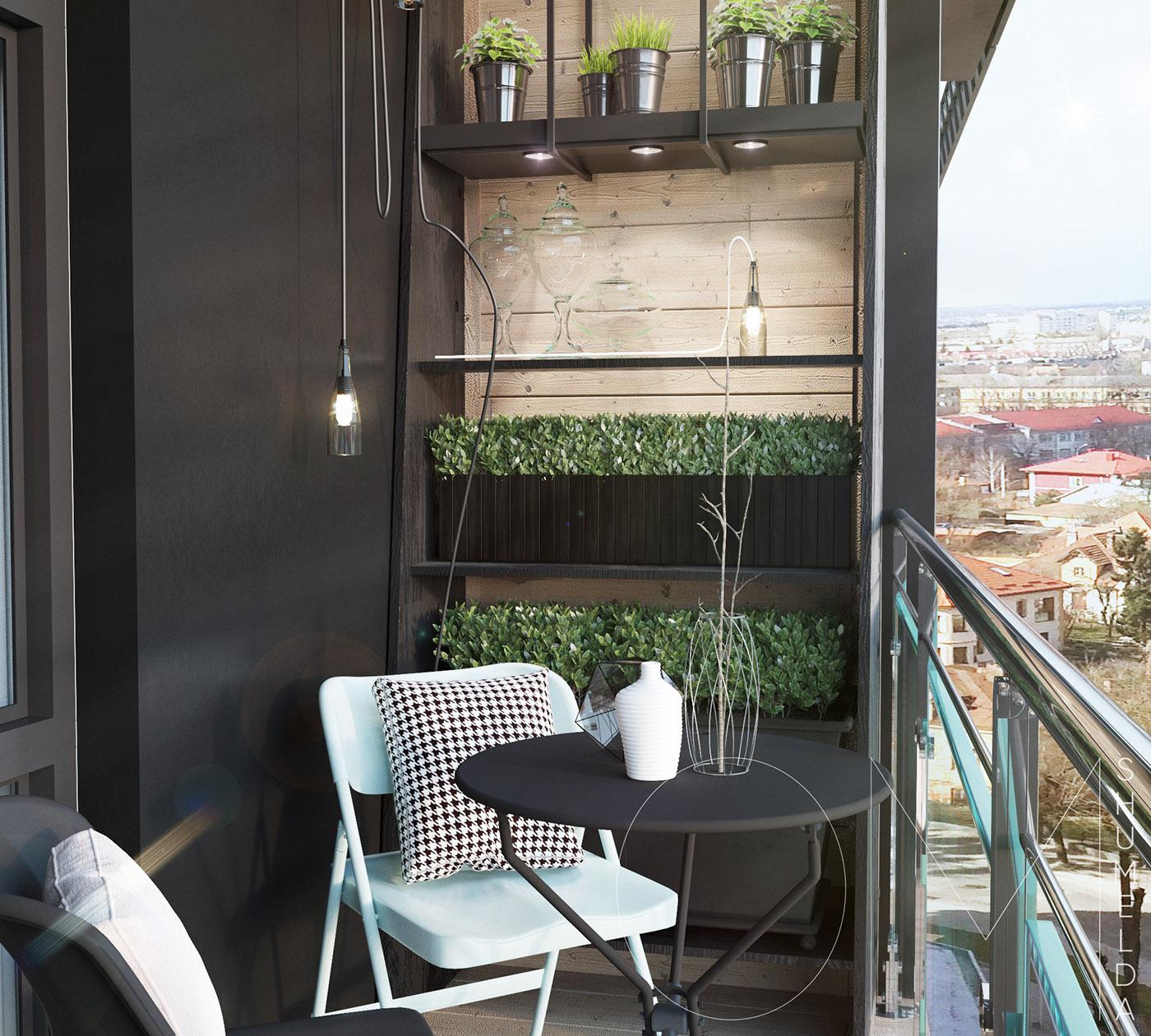 Bardage en bois et étagères sur le balcon