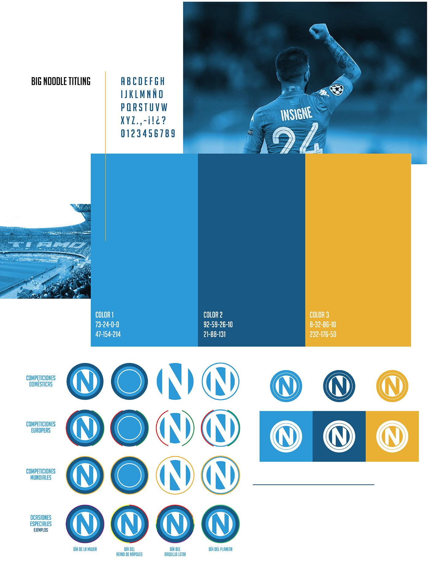 SSC Napoli napoles NAPOLI Futbol Rebrand marca brand badge soccer