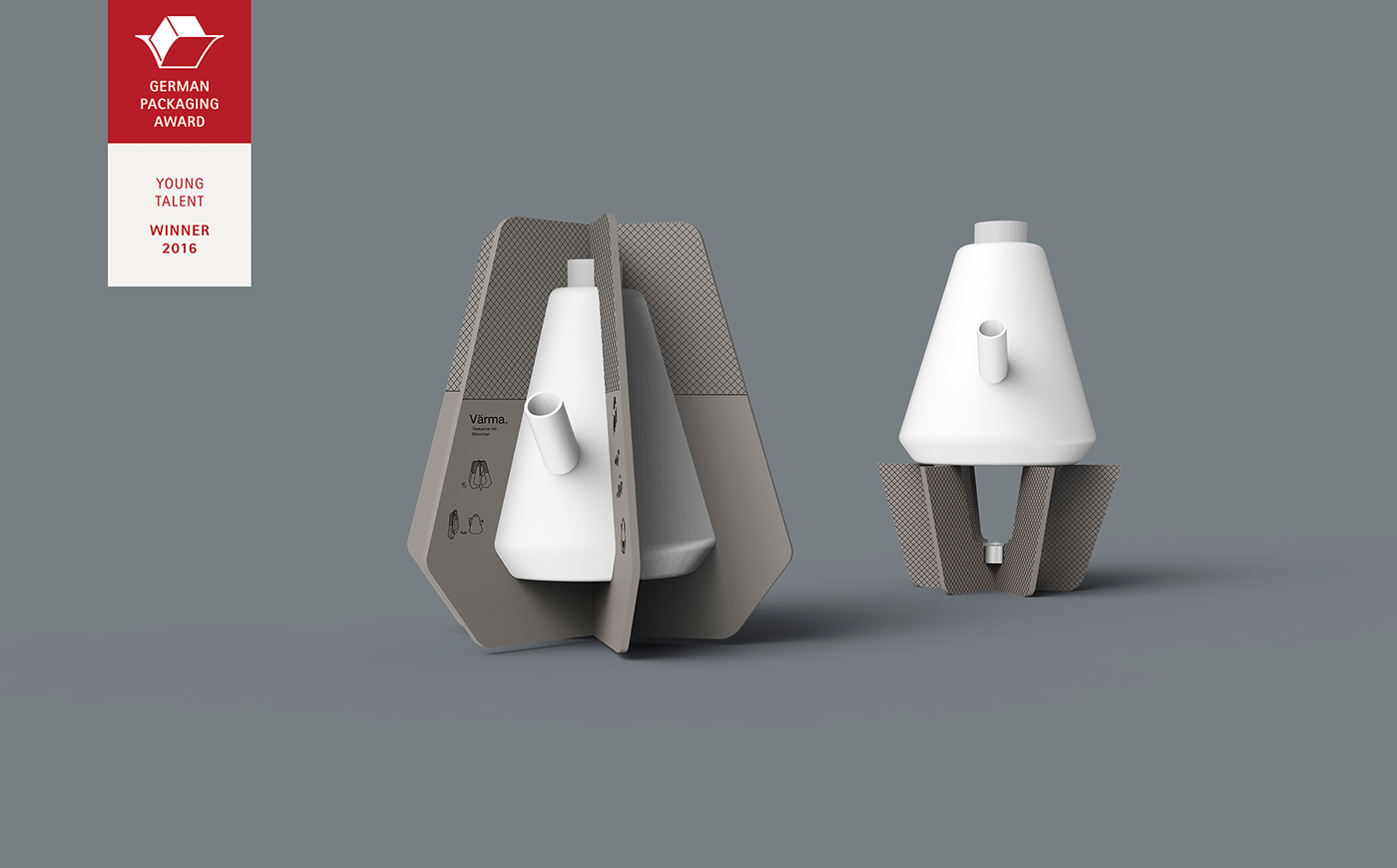 Packaging two benefits industrial design  Multi-purpose minimalistic protection presentation tea warmer