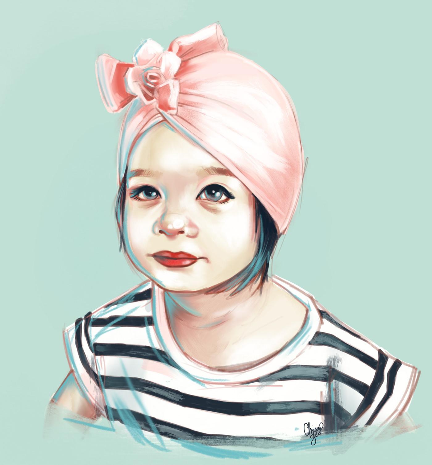 illustrations ILLUSTRATION  Drawing  painting   Procreate portrait portraits kids children color sketch paint