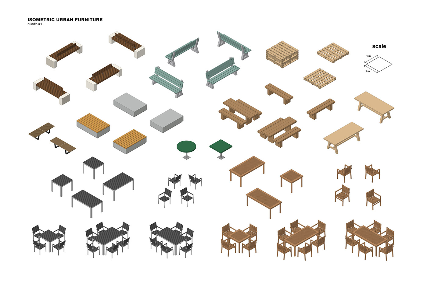 architecture ILLUSTRATION  Urban Isometric 3D free furniture Street cafe
