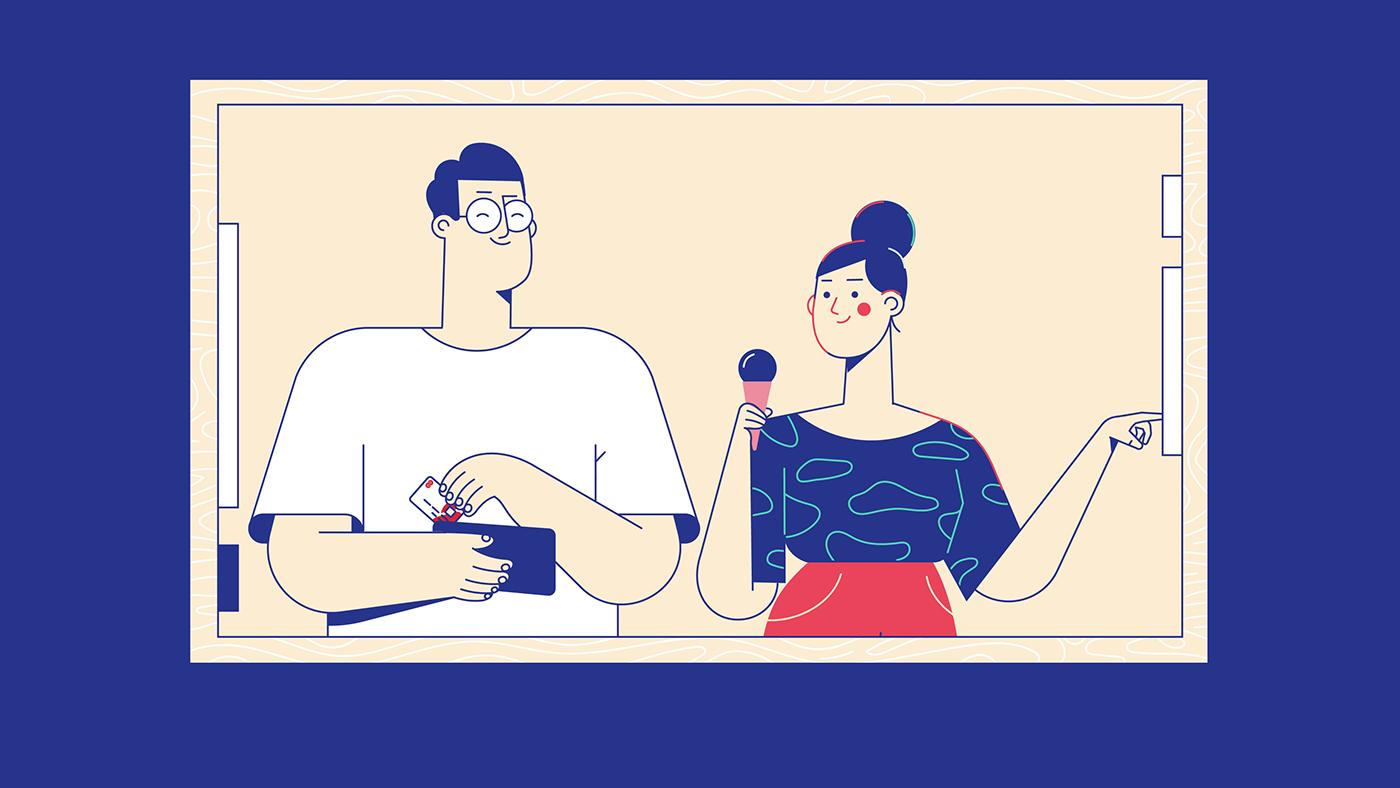 Couple buying ice cream - illustration, drawing.