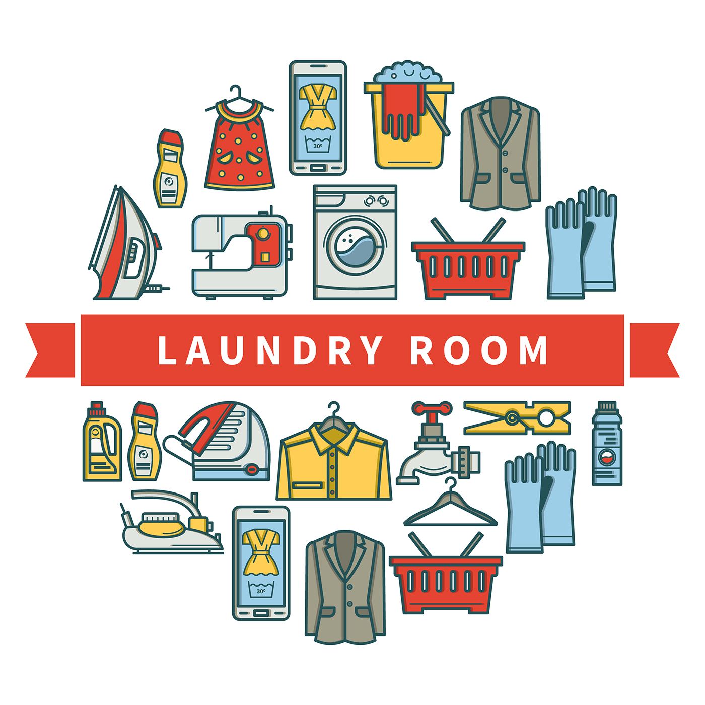 laundry room Icon line Washing machine detergent dry cleaning