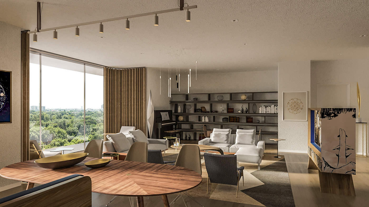 Interior design architecture residential light furniture rendering 3drendering