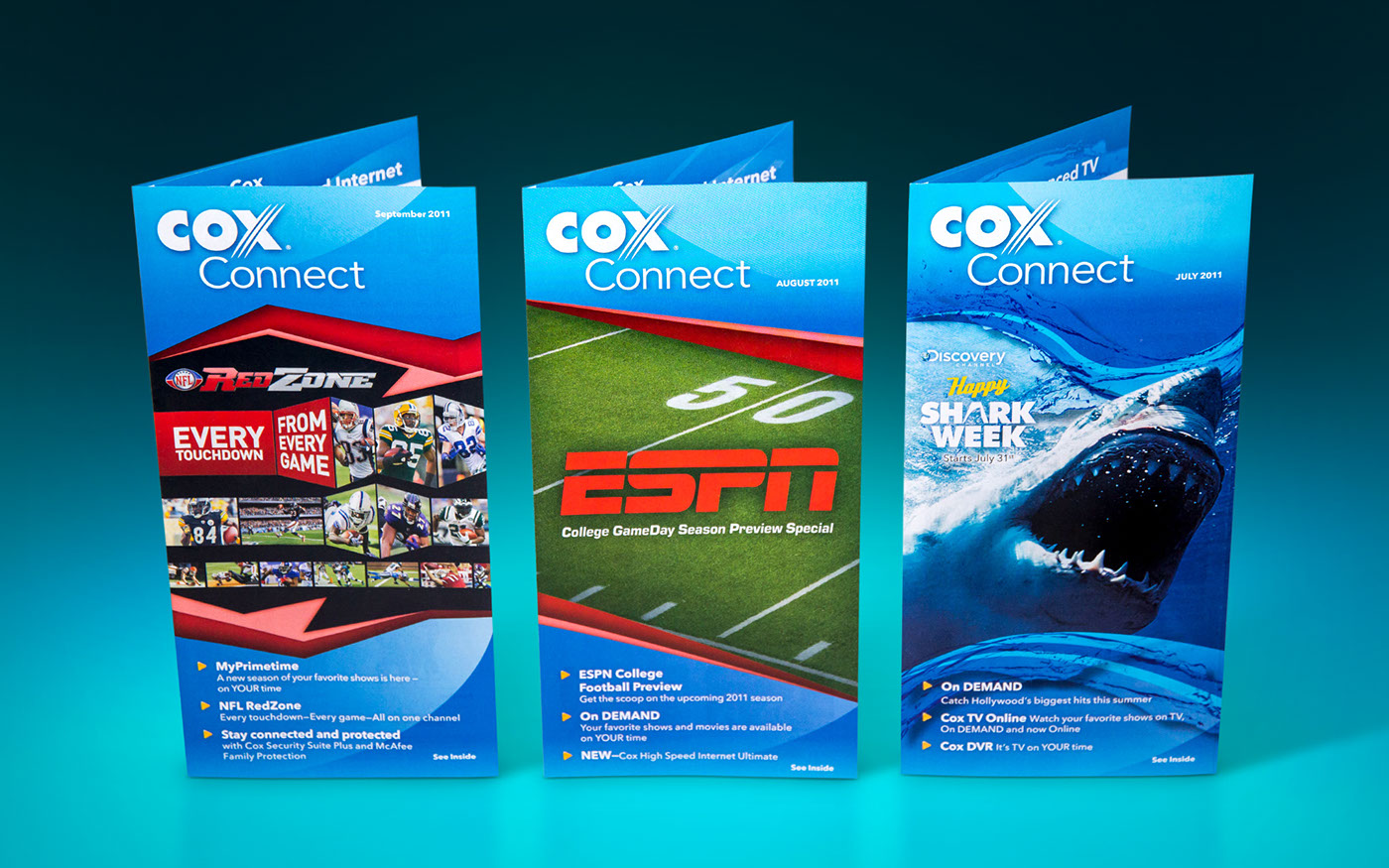Cox communications Direct mail marketing   Movies ESPN nfl red zone shark step mailer OnDemand