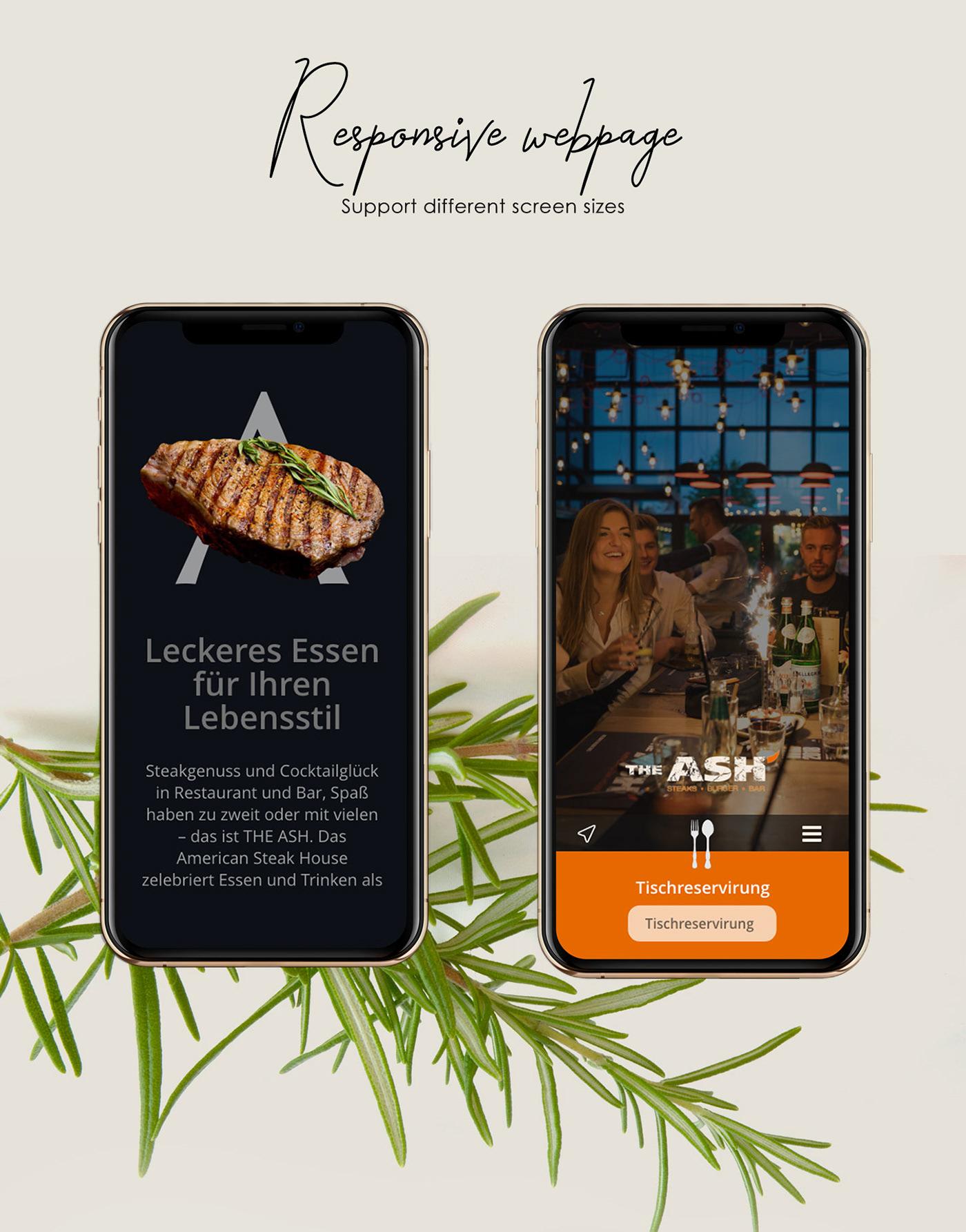 restaurant UI ux steak redesign design Responsive bootstrap trend