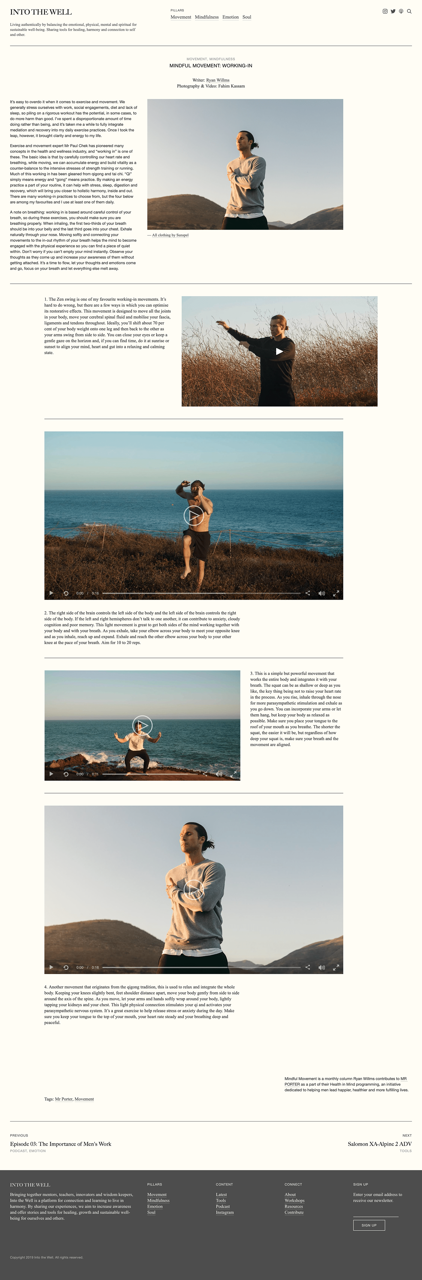 Into The Well Ryan Willms Health fitness mental health squarespace grid based magazine The Printer's Son