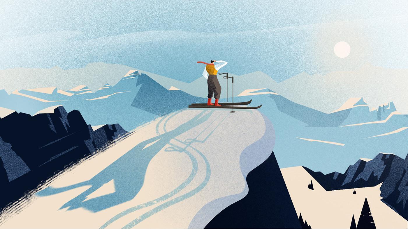 2D 2D Animation animation  Cel Animation Character design  cortina frame by frame Nerdo Ski winter