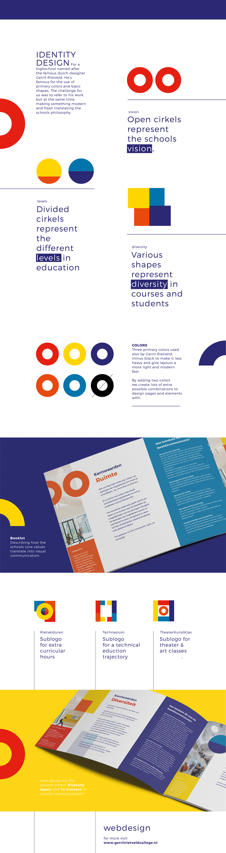 identity logo de stijl Gerrit Rietveld graphic design  vision Booklet Animated Logo huisstijl school