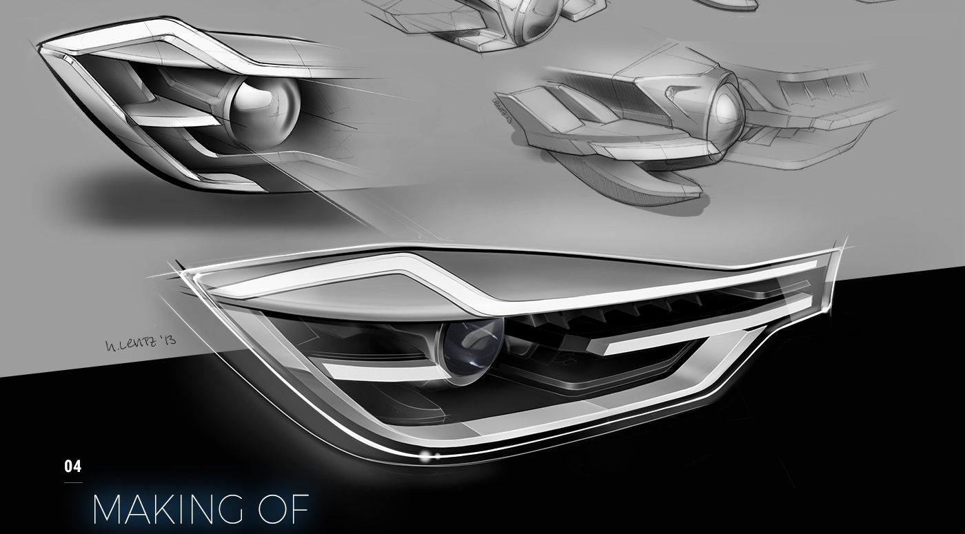 Peschke design vienna headlight led sketch automotive   Technology lighting Dynamic light styling  car BMW