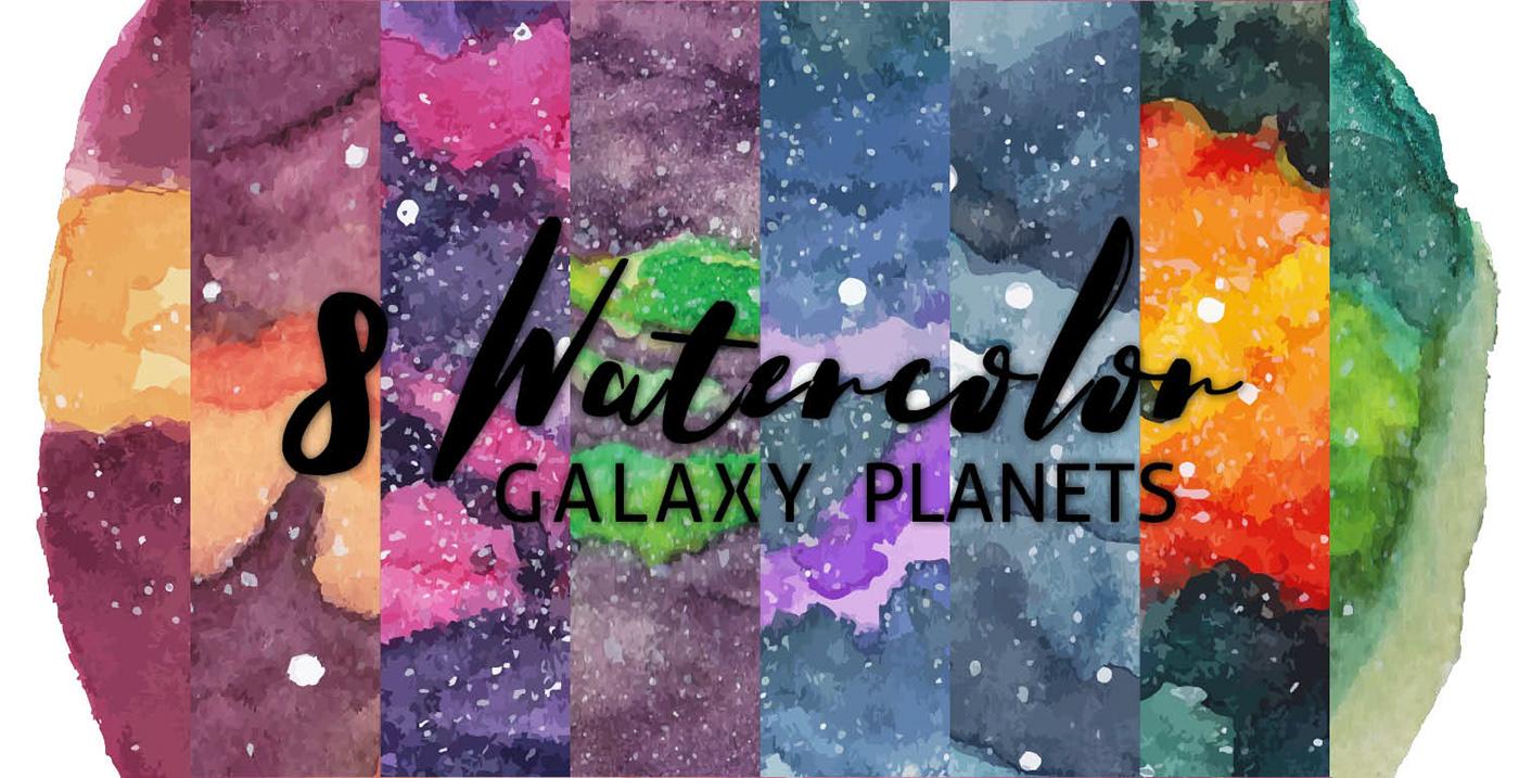 watercolor galaxy planet vector stars Space