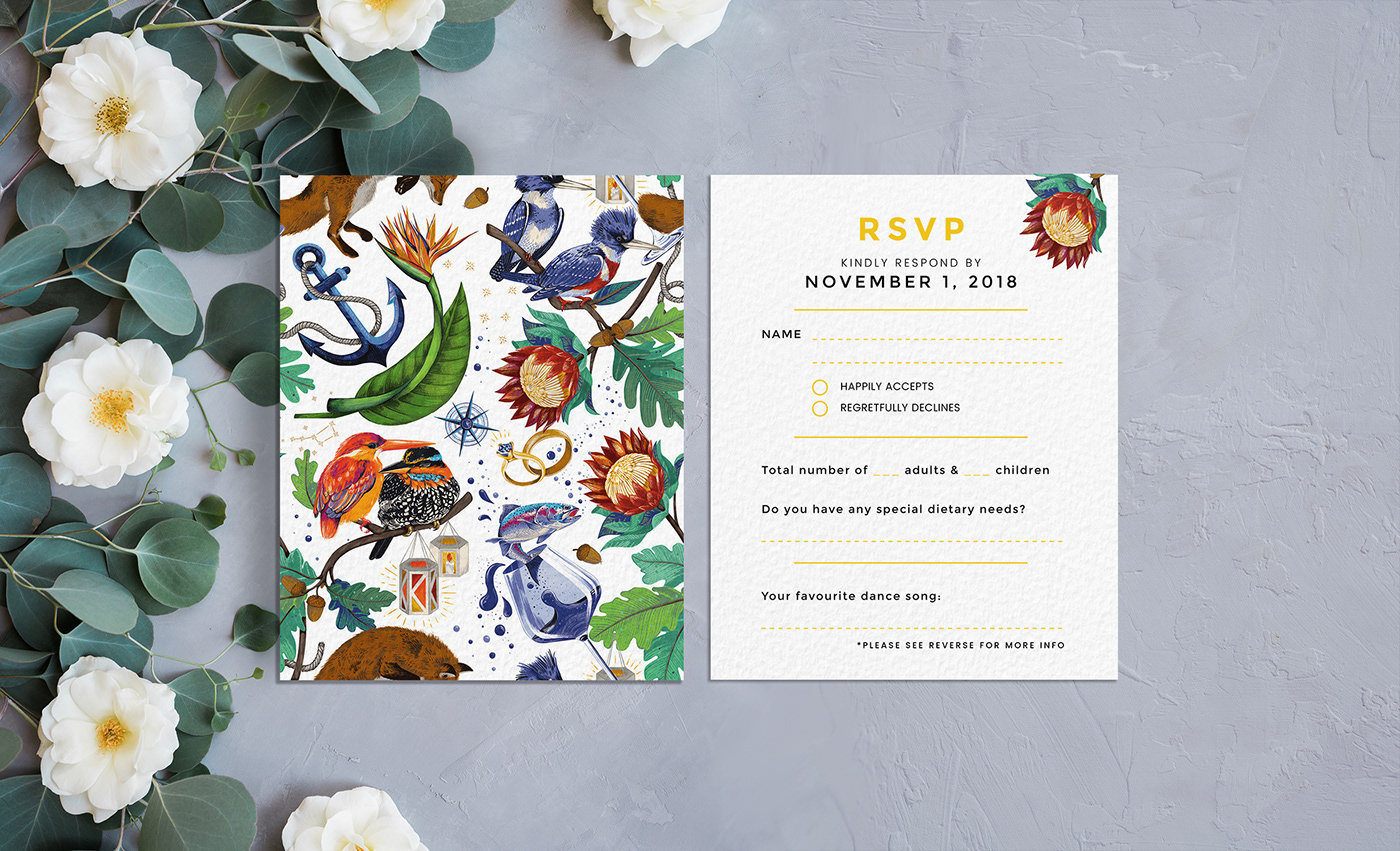 wedding wedding invitation botanical birds animals wedding stationery wedding RSVP ILLUSTRATION  pattern
