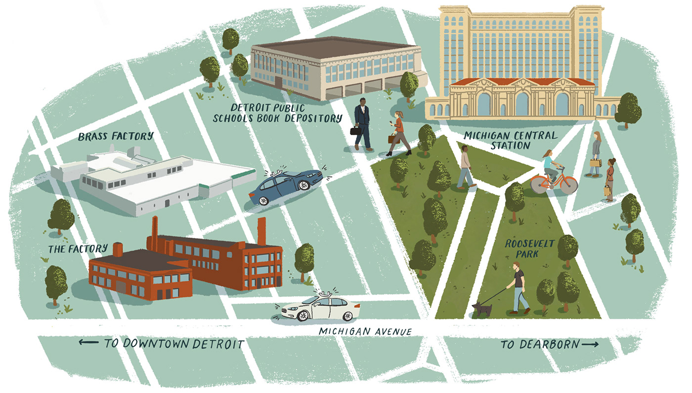 map of corktown detroit Corktown Map For Dbusiness Magazine On Behance map of corktown detroit