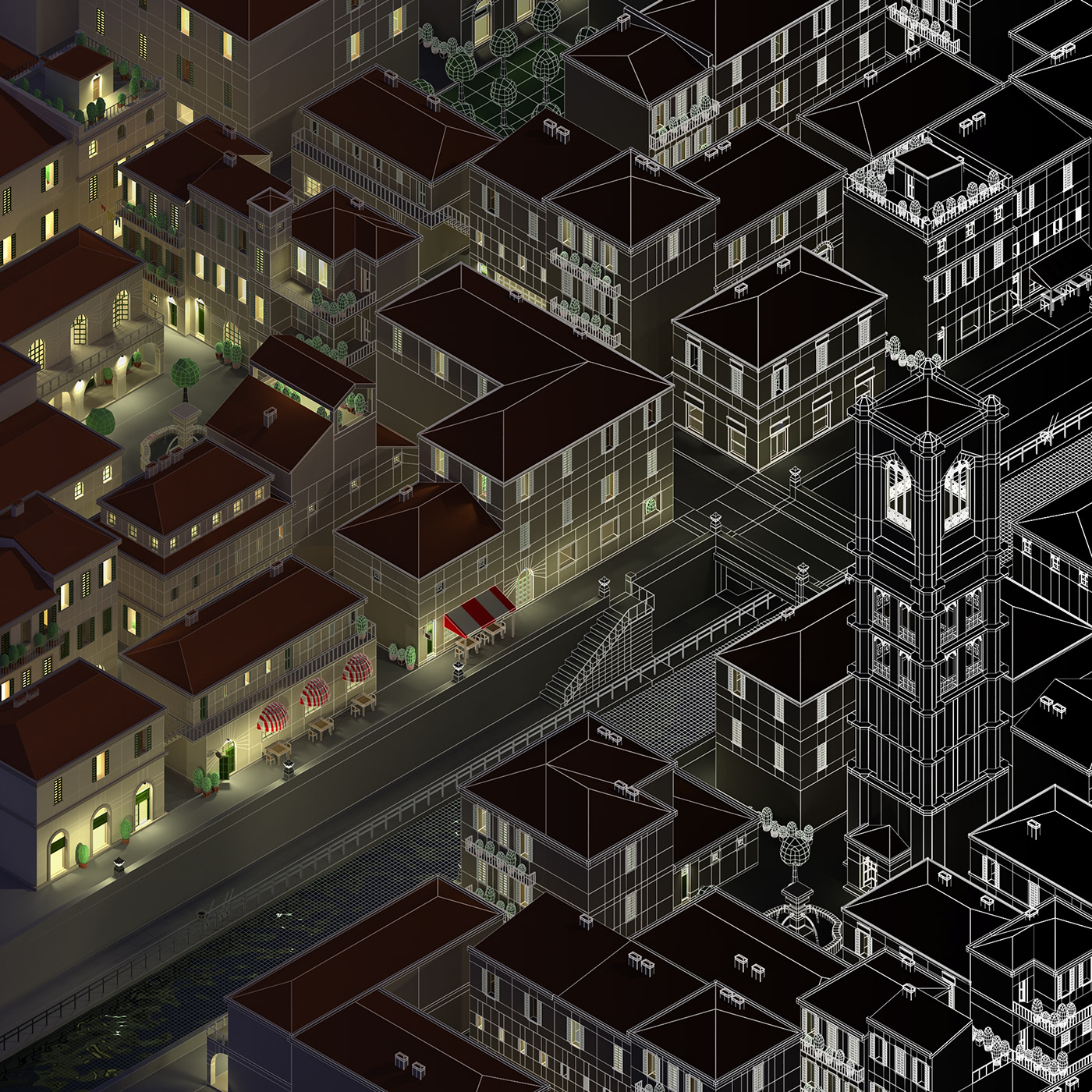 architecture axonometry city digital3d ILLUSTRATION  lowpoly night orthography town