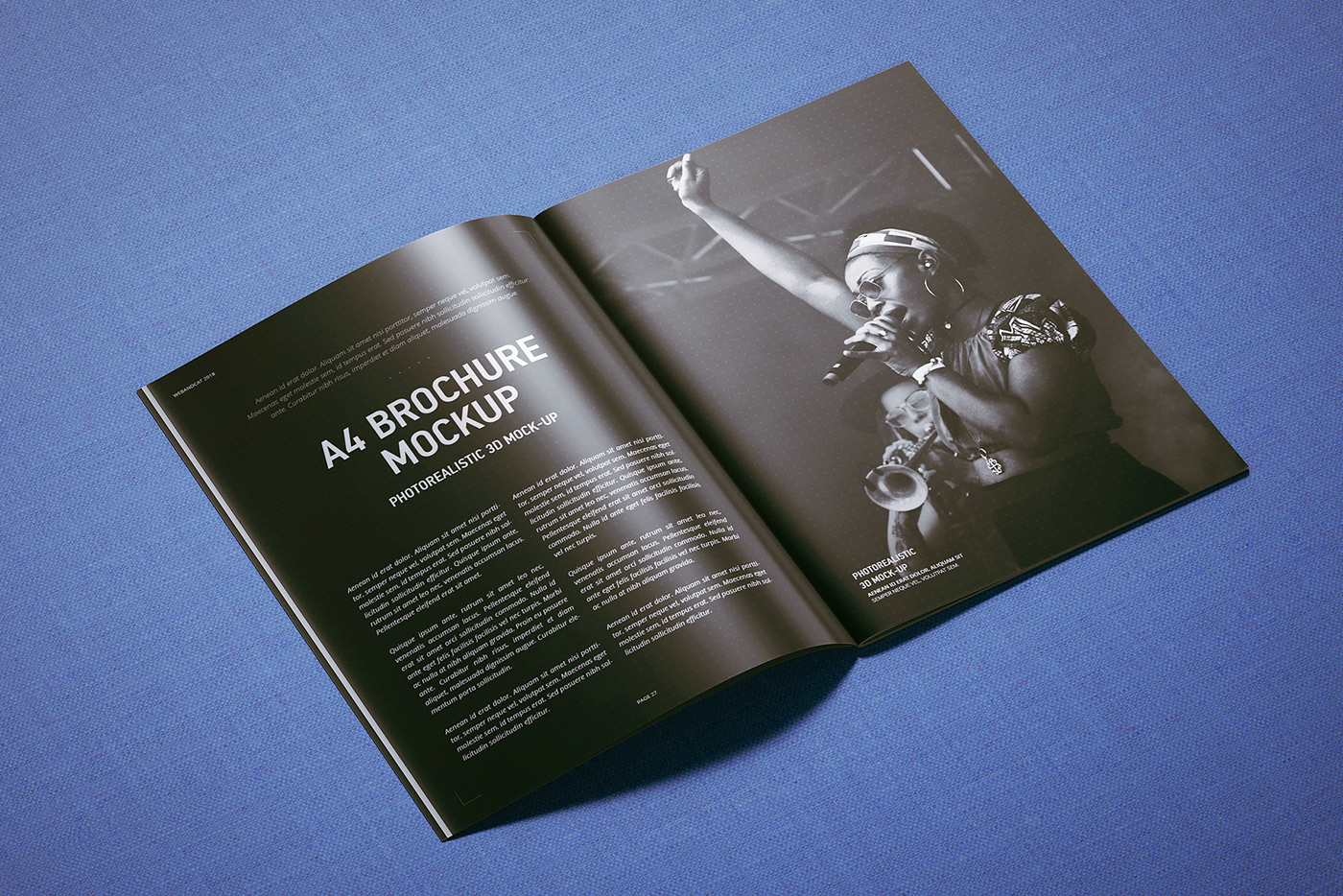 3D a4 Bi-fold Booklet brochure catalog magazine mock-up freebie psd