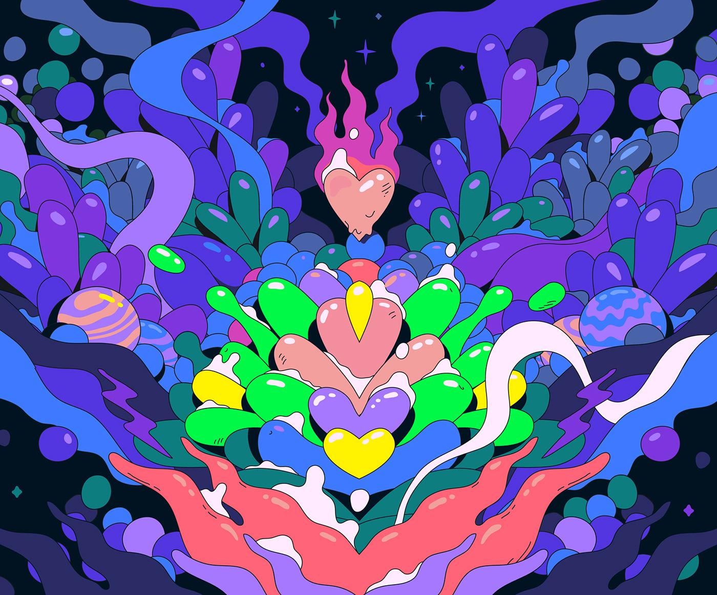 surreal Sci Fi Pop Art neon Digital Art  Space  Character cartoon animation  abstract