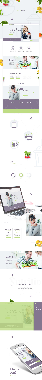 nutrition Webdesign homepage flat design Food  flat colours design landing vegetables landing page