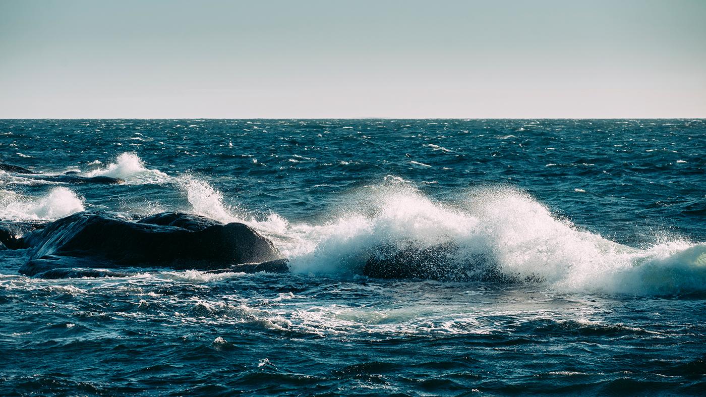 waves splash sea storm water Kokar finland