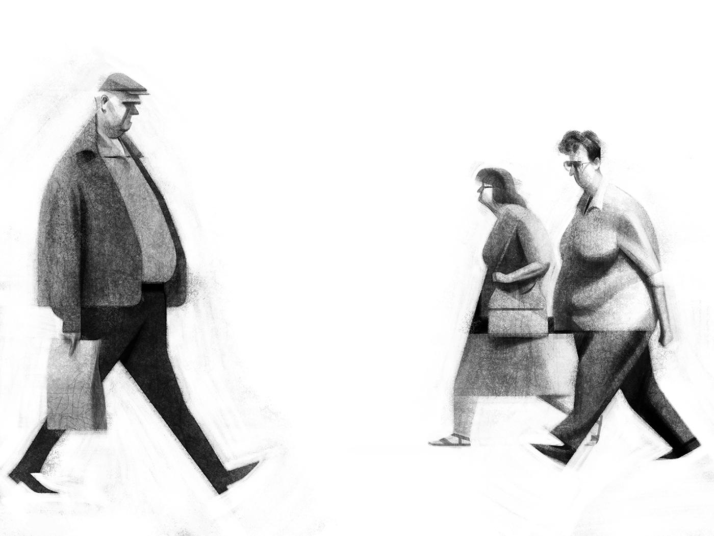 walking illustration drawing behance photoshop character render forward words