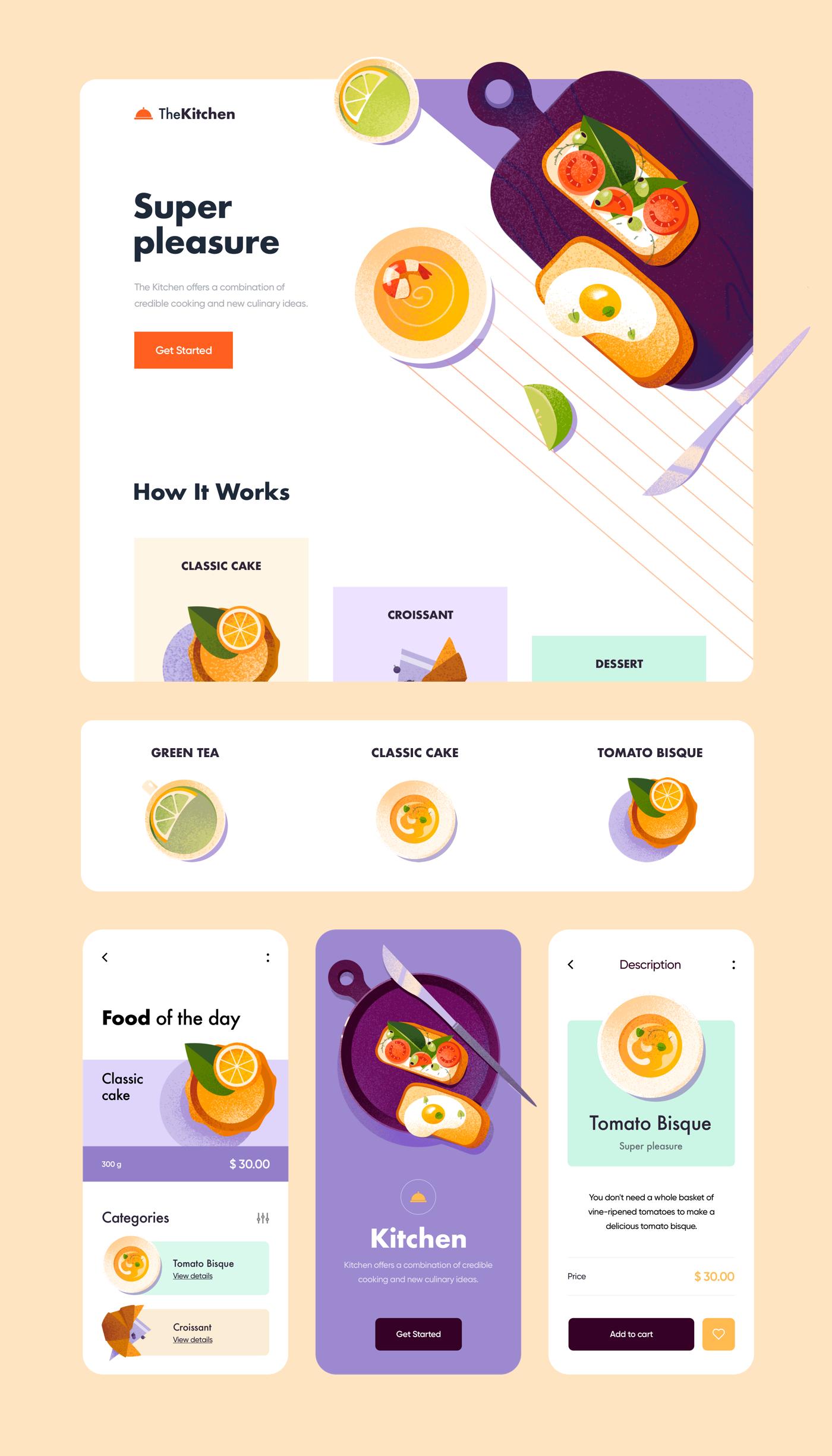 clean color design Food  landing minimal UI UI/UX ux Web