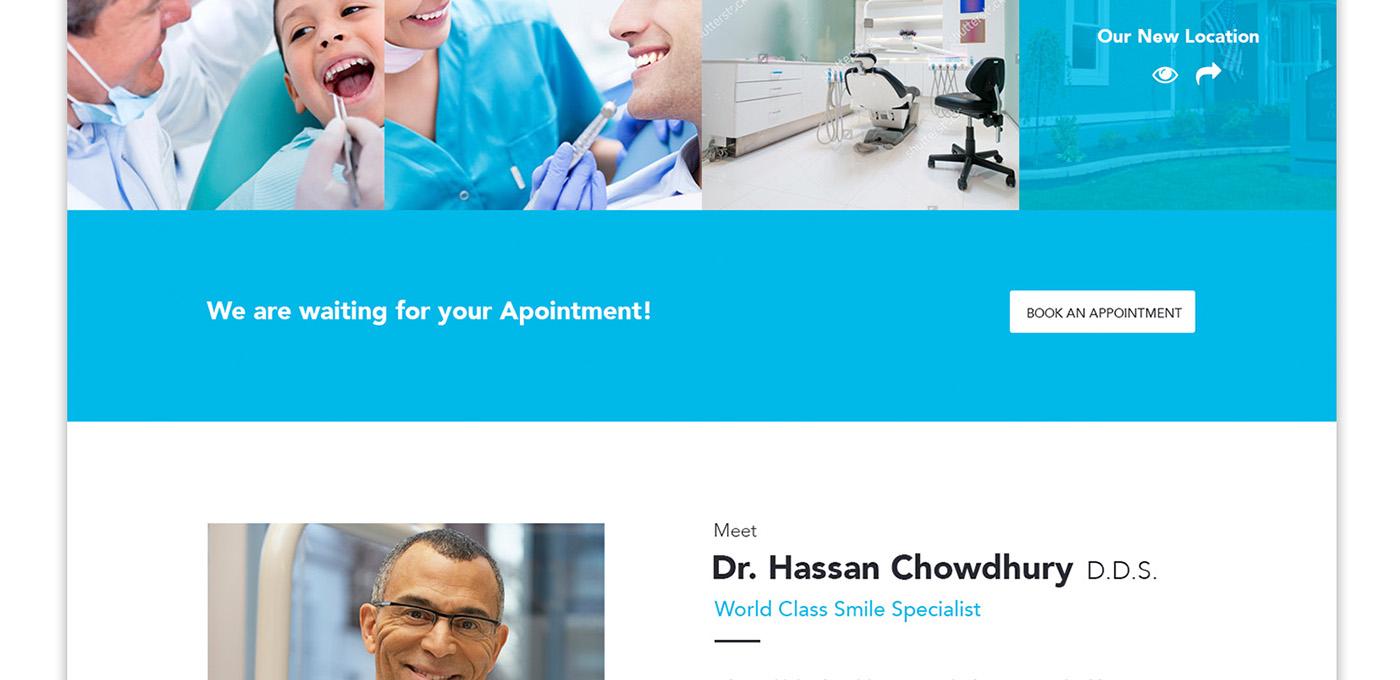 Website blue dental modern onepage long web design minimal Clean Design themeforest user interface landing page UI ux Web landing