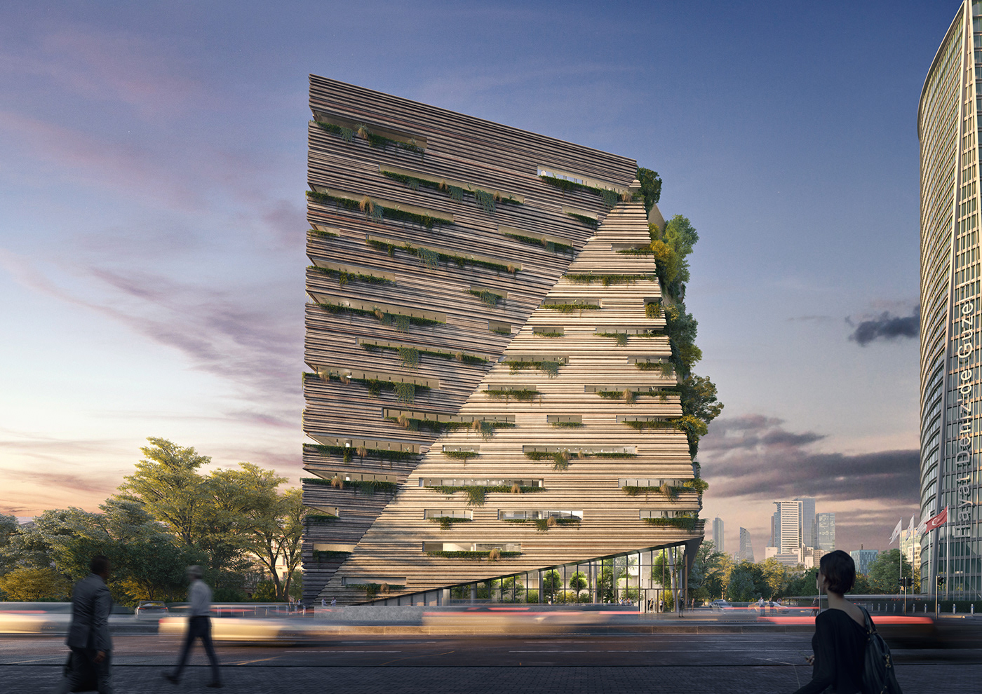 The whole idea for the building was to resemble a monolith carved out and rising from the earth
