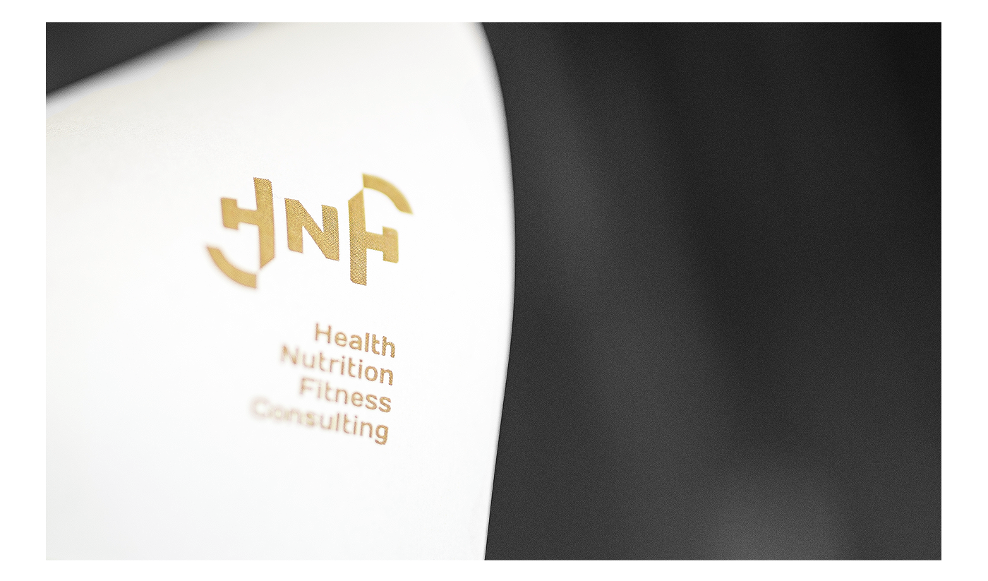 Health nutrition fitness gym Consulting gold black ambigram dubai Mockup UV complexity