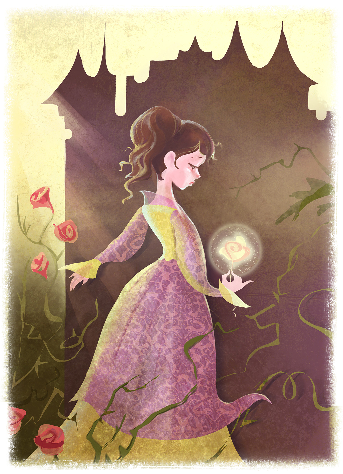 Belle Beauty and the beast ILLUSTRATION  children Princess rose Magic   enchanted Castle