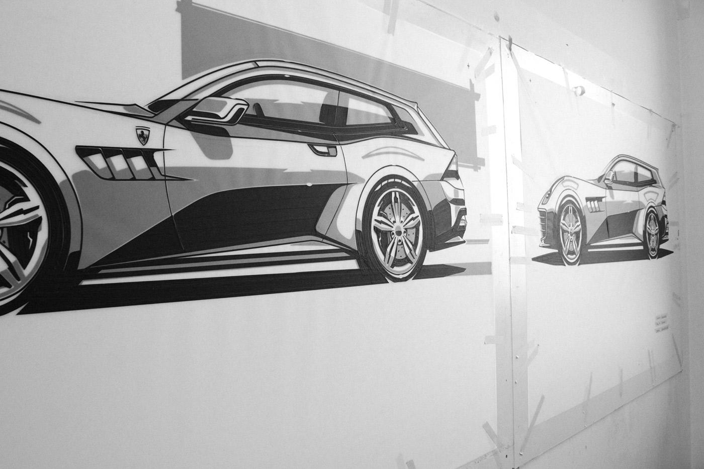 Tape Rendering FH Joanneum industrial design school rendering Technique car FERRARI automotive   University