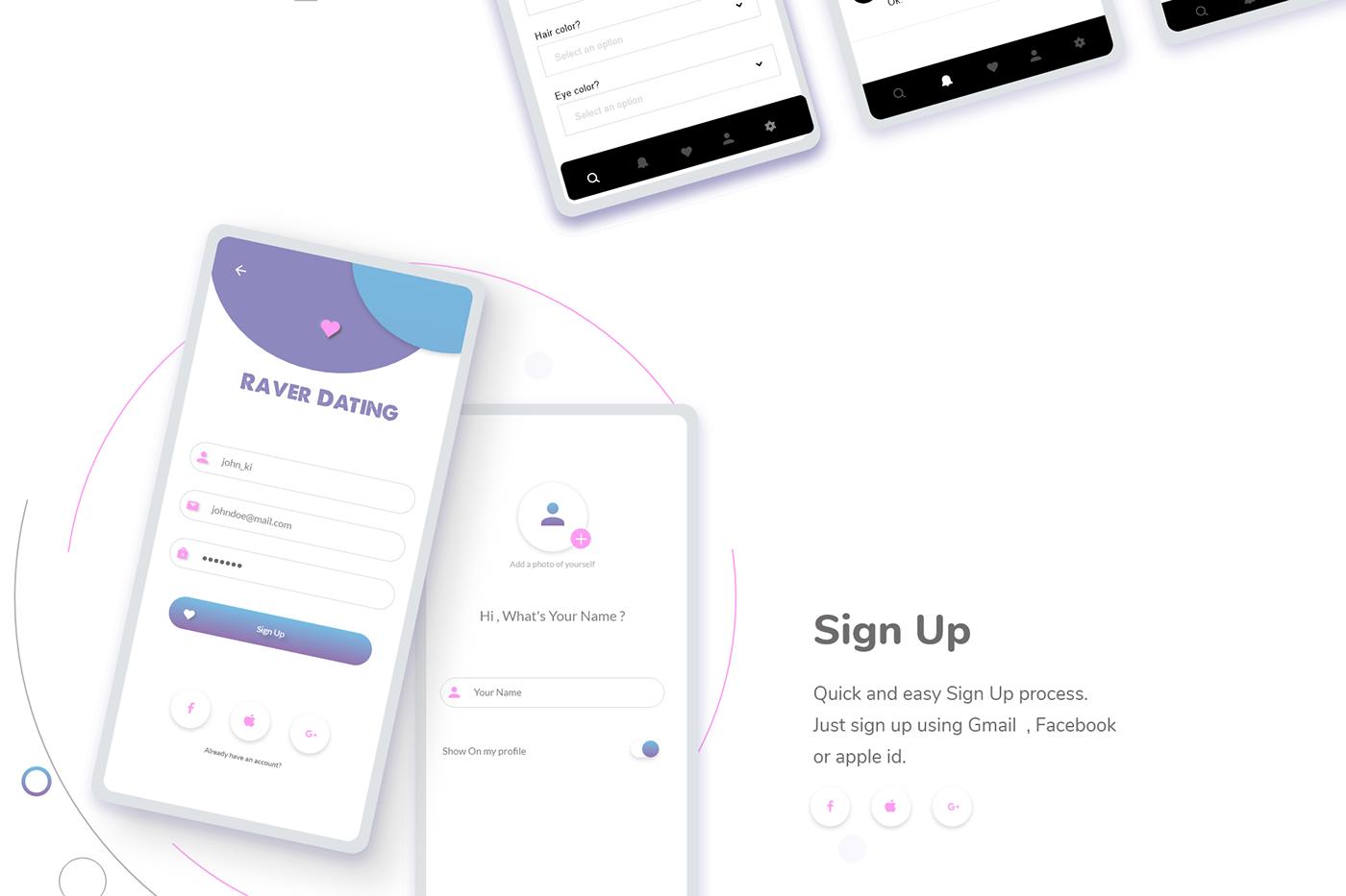 dating app design signup