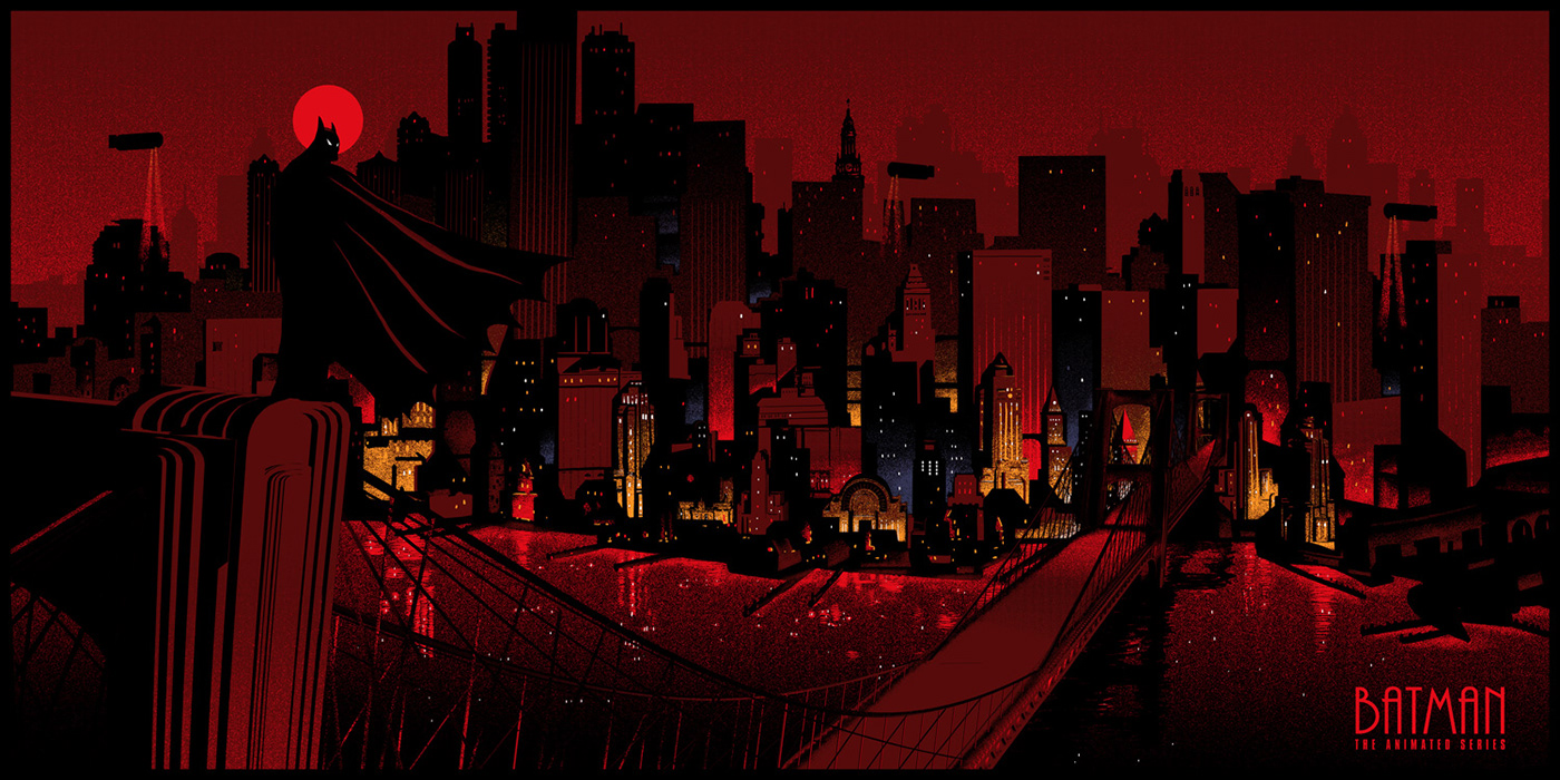 batman catwoman cityscape gotham city limited edition Mr freeze night posters screen prints tv animation