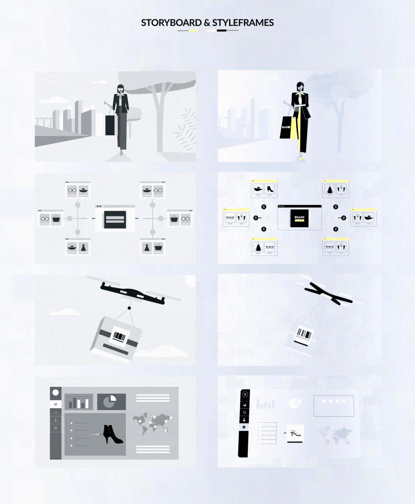 Fashion  blockchain explainer video Sustainable Technology character animation elegant IT Interface 2d  animation