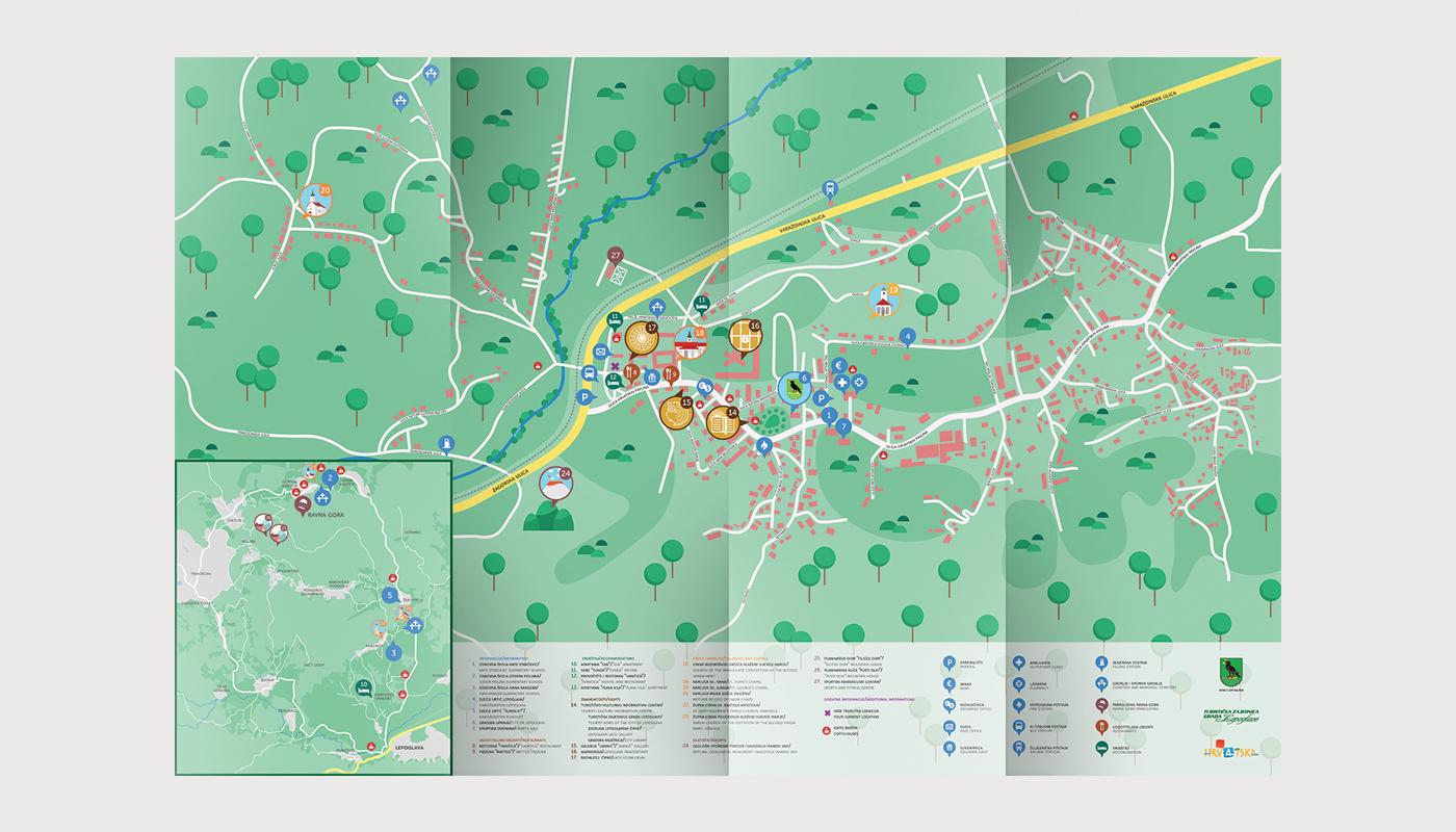 city Croatia map icons Plan tourism wayfinding