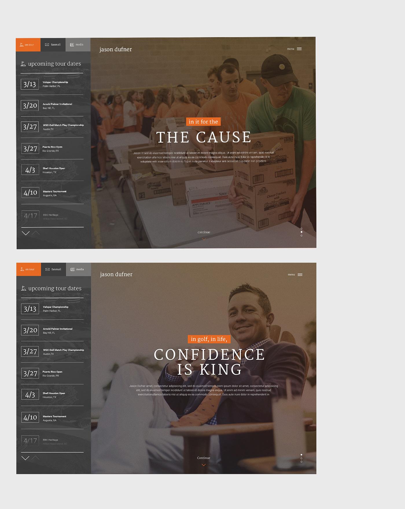 golf sports Website Webdesign professional prosports UI ux storytelling   Responsive