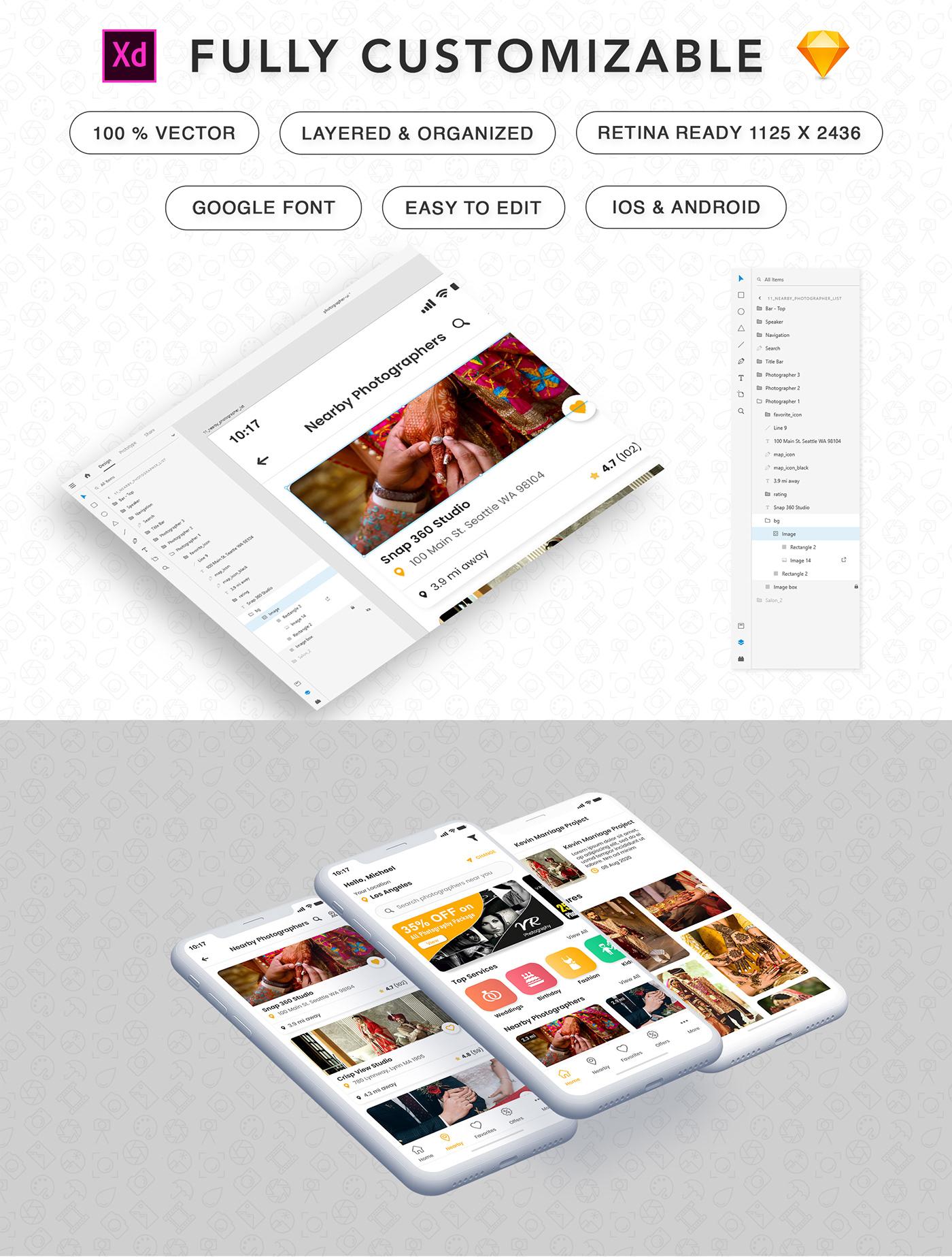 android Android App Find Photographer app iOS app design photographer Photographer app design Photography  photoshoot photostudio ui kit