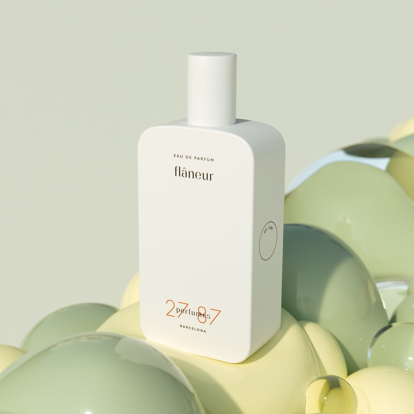 animation  bouncy CG green pastel perfume product Render soft yellow