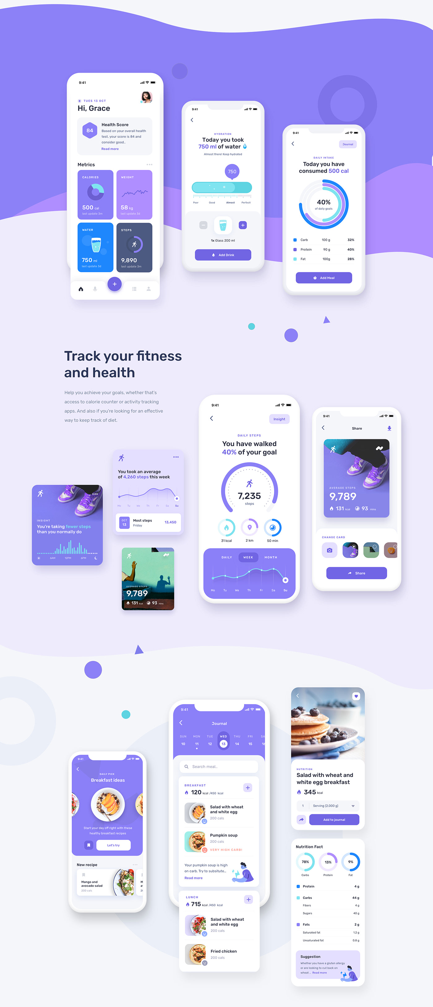 Mobile UI UX for fitness and health app with many features such as step tracking, calorie counter