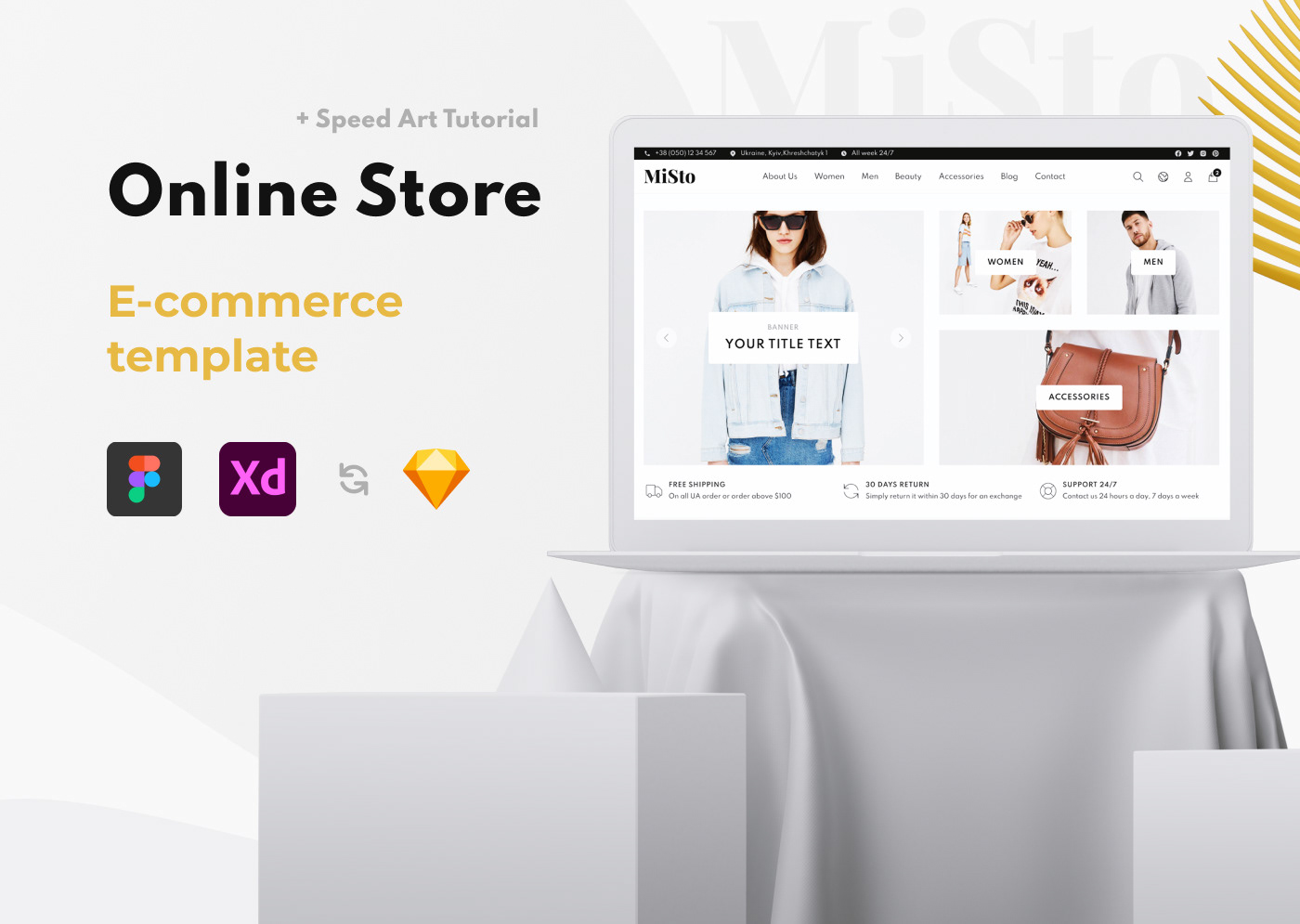 Free E-commerce Template, Store, Shop, UI, UX, Clean, Minimalist Web Design