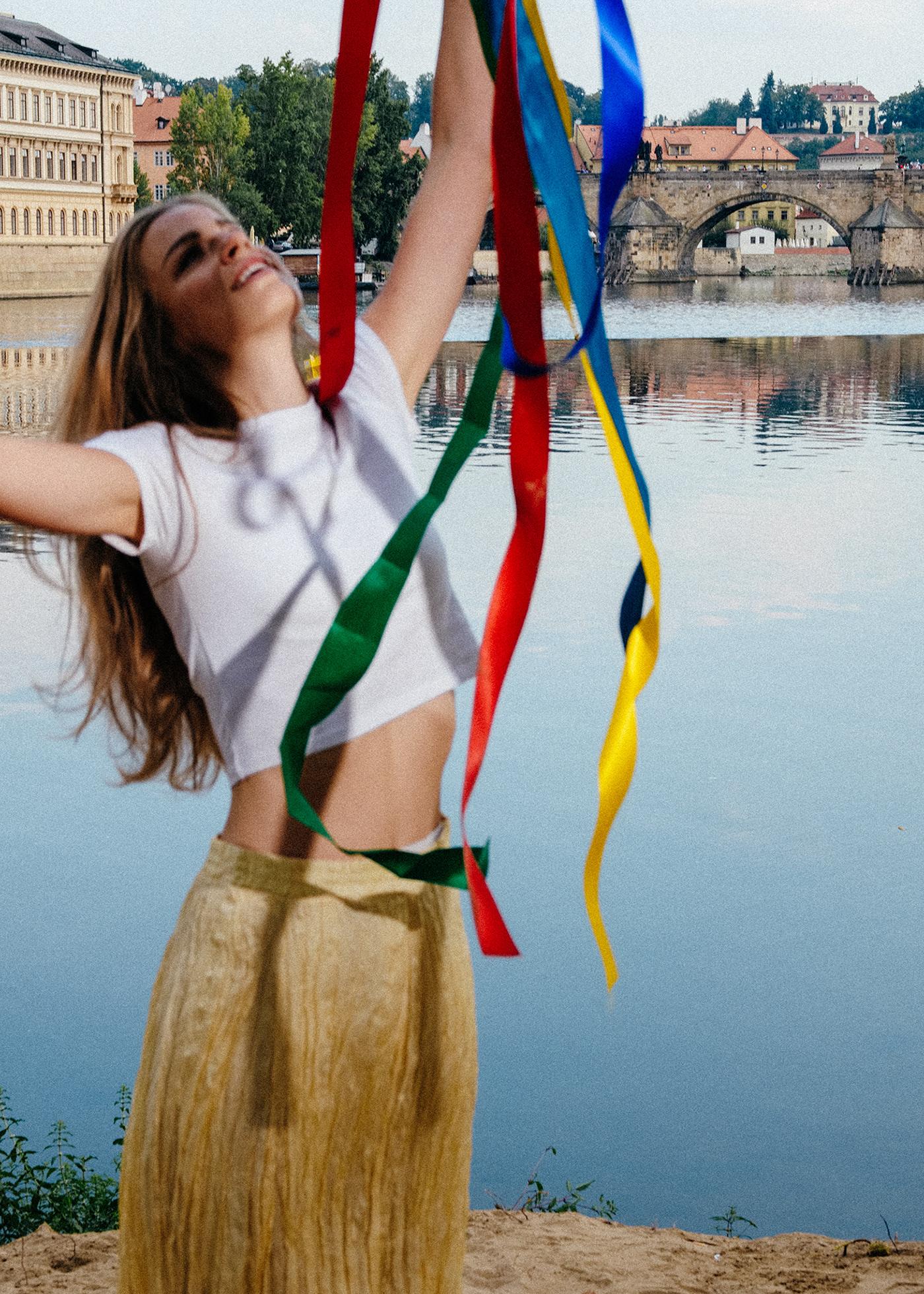 Folklore ribbons prague model editorial
