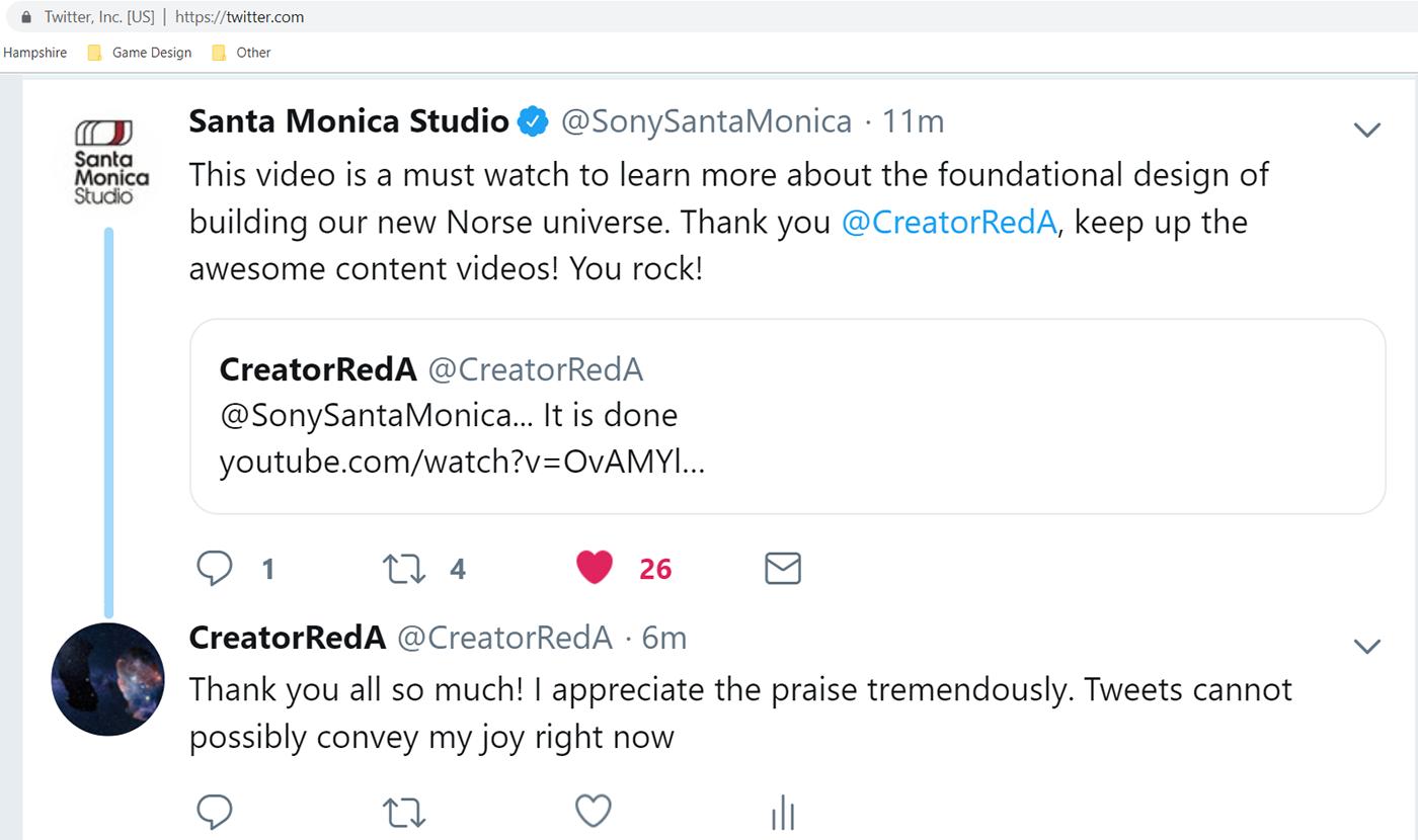 Image of a Tweet from Santa Monica Studios praising my God of War video